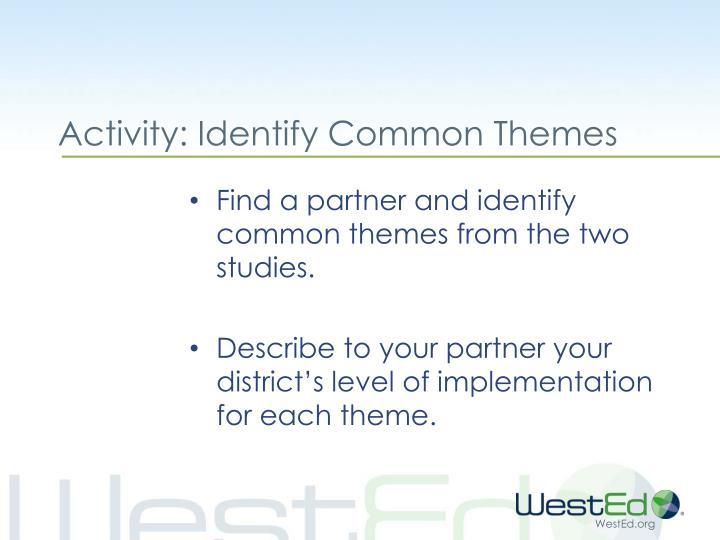Activity: Identify Common Themes