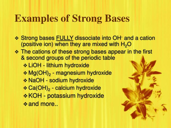 Examples of Strong Bases