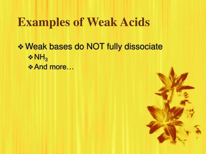 Examples of Weak Acids