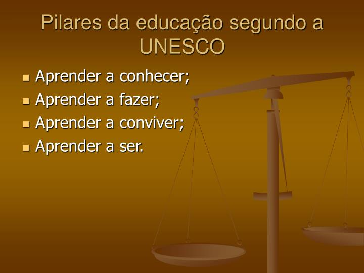 Pilares da educação segundo a UNESCO