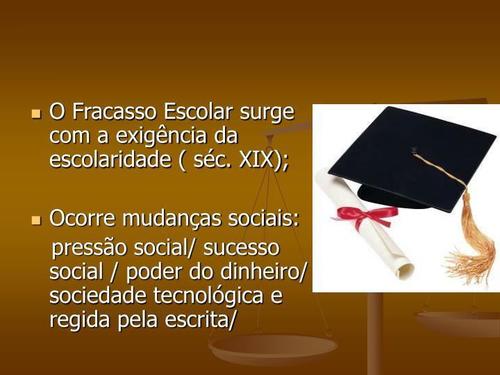 O Fracasso Escolar surge com a exigência da escolaridade ( séc. XIX);