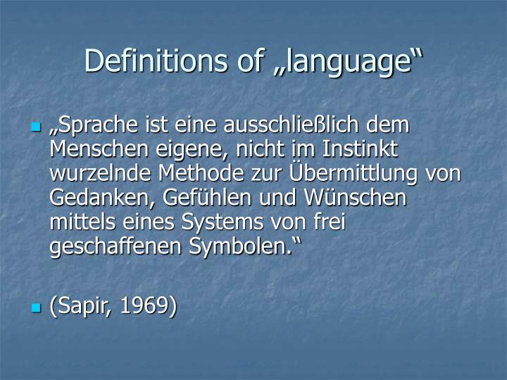 "Definitions of ""language"""