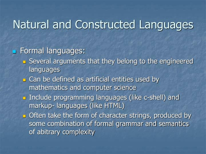 Natural and Constructed Languages