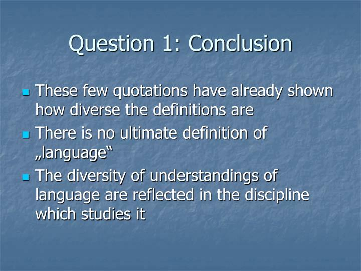 Question 1: Conclusion