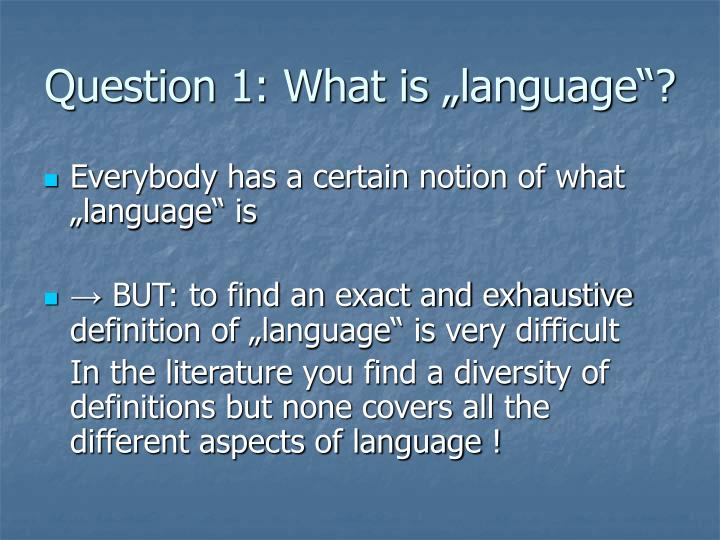 "Question 1: What is ""language""?"