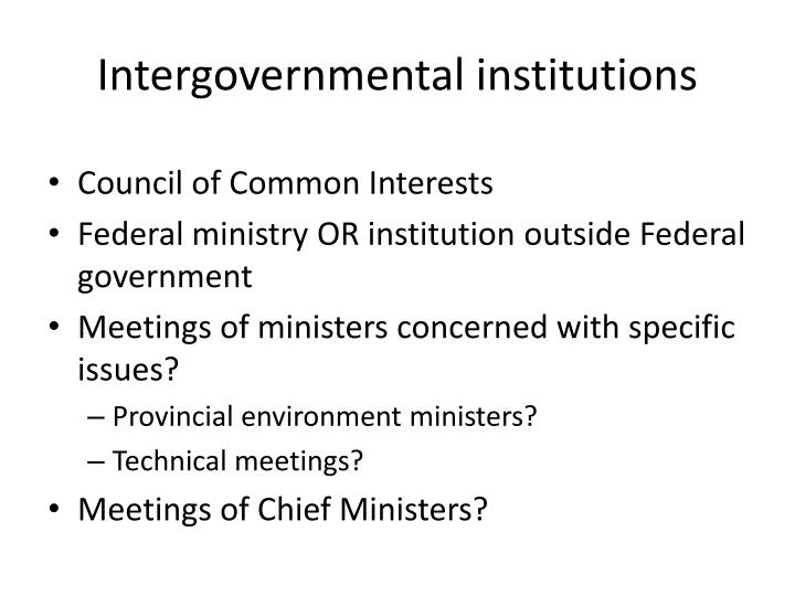 Intergovernmental institutions