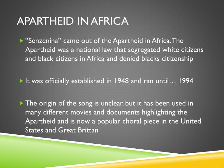 Apartheid in Africa