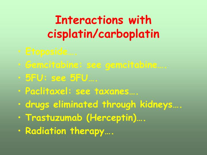 Interactions with cisplatin/carboplatin