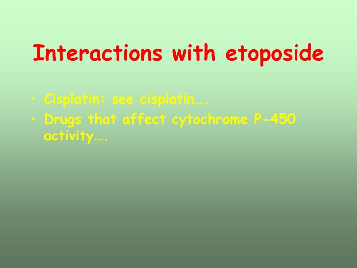 Interactions with etoposide