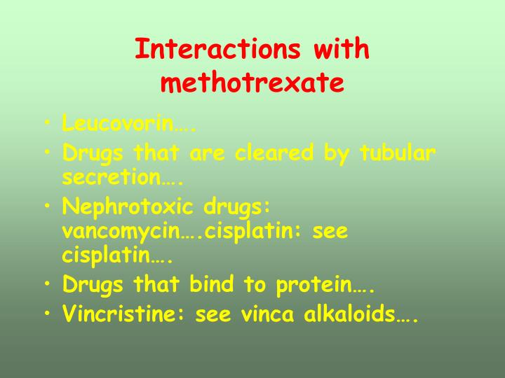 Interactions with methotrexate
