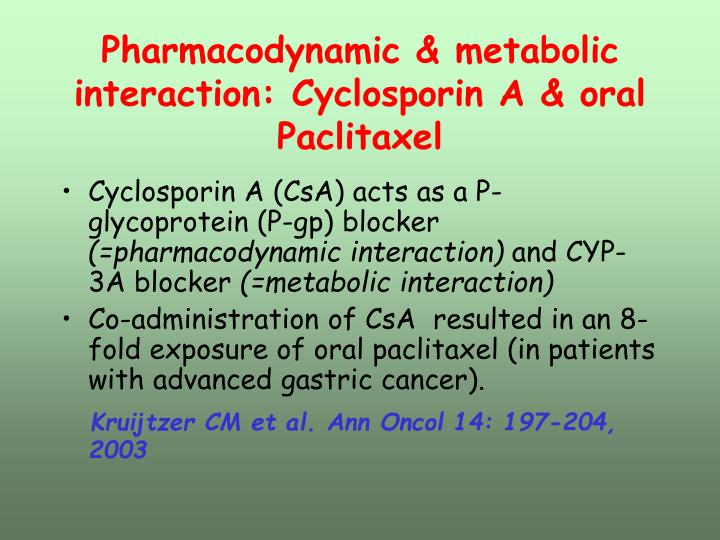 Pharmacodynamic & metabolic interaction: Cyclosporin A & oral Paclitaxel