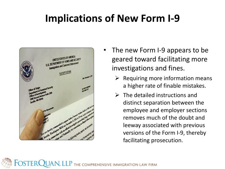 Implications of New Form I-9
