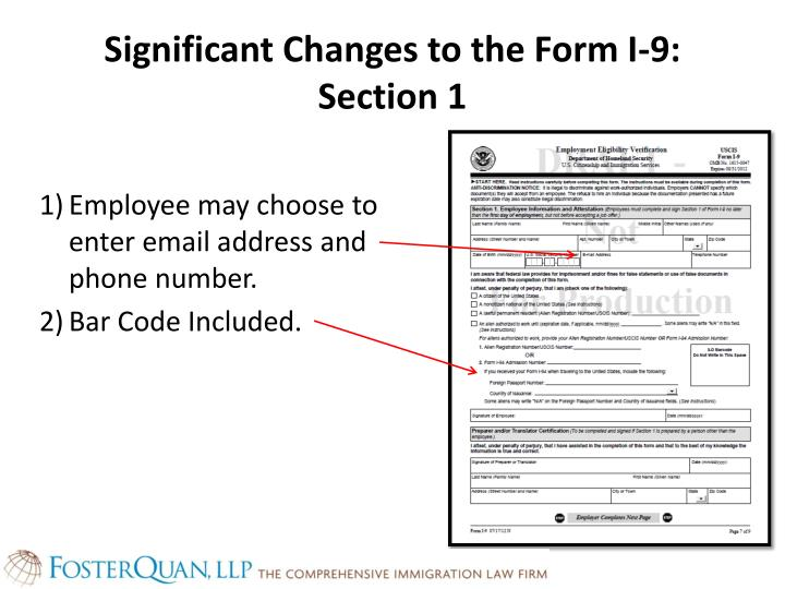 Significant Changes to the Form I-9: