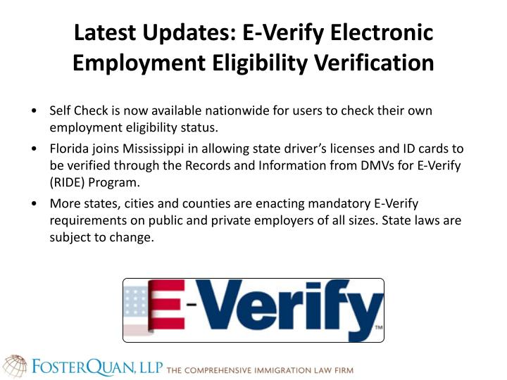 Latest Updates: E-Verify Electronic