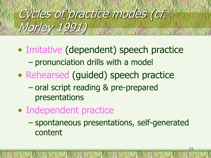Cycles of practice modes (cf. Morley 1991)