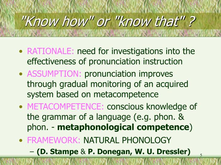 """""""Know how"""" or """"know that"""" ?"""