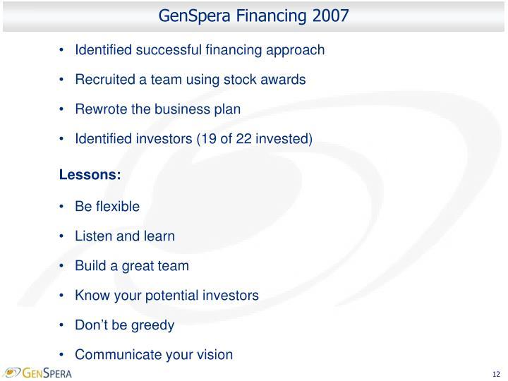 GenSpera Financing 2007