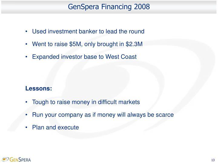 GenSpera Financing 2008
