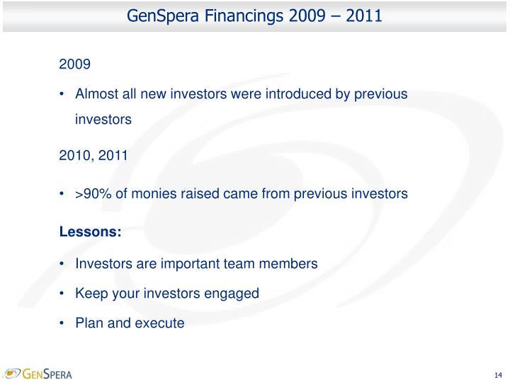 GenSpera Financings 2009 – 2011