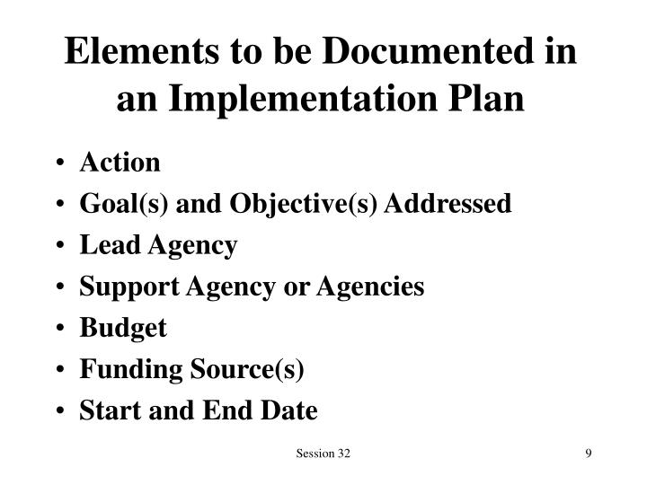 Elements to be Documented in an Implementation Plan