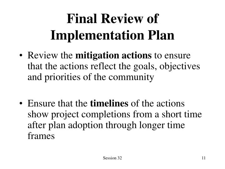 Final Review of Implementation Plan