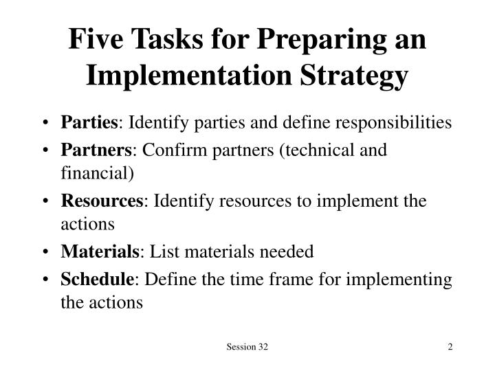 Five tasks for preparing an implementation strategy