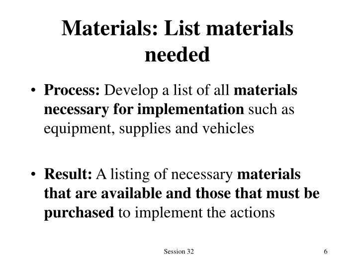 Materials: List materials needed