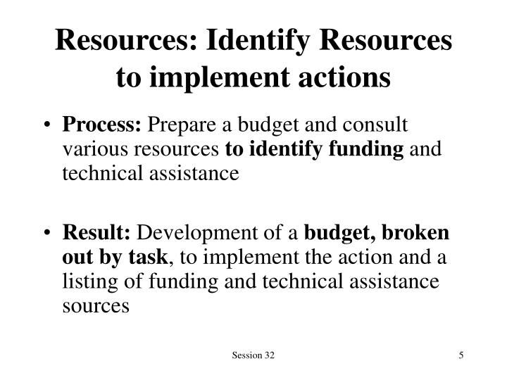 Resources: Identify Resources to implement actions