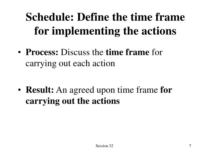 Schedule: Define the time frame for implementing the actions