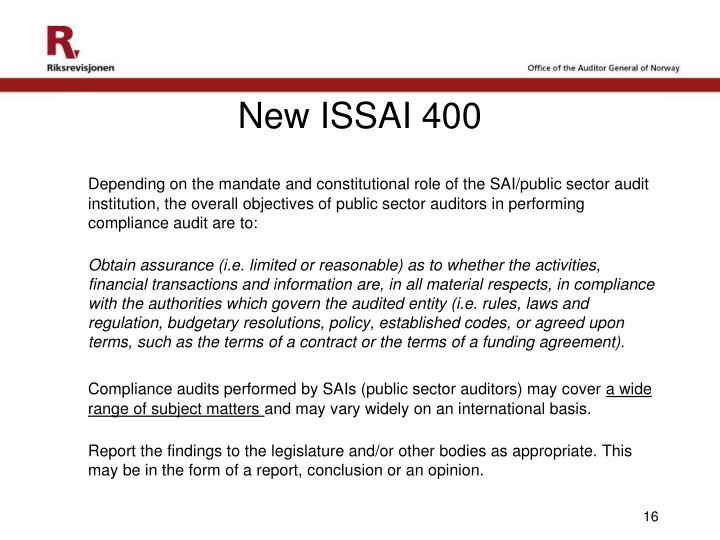 New ISSAI 400