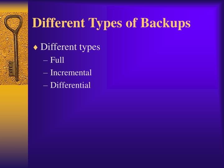 Different Types of Backups