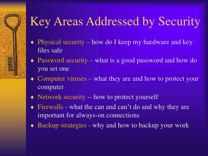 Key areas addressed by security