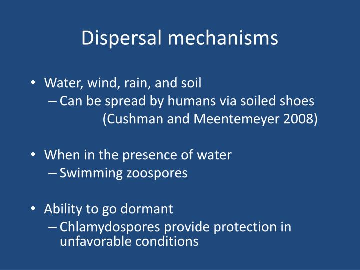 Dispersal mechanisms