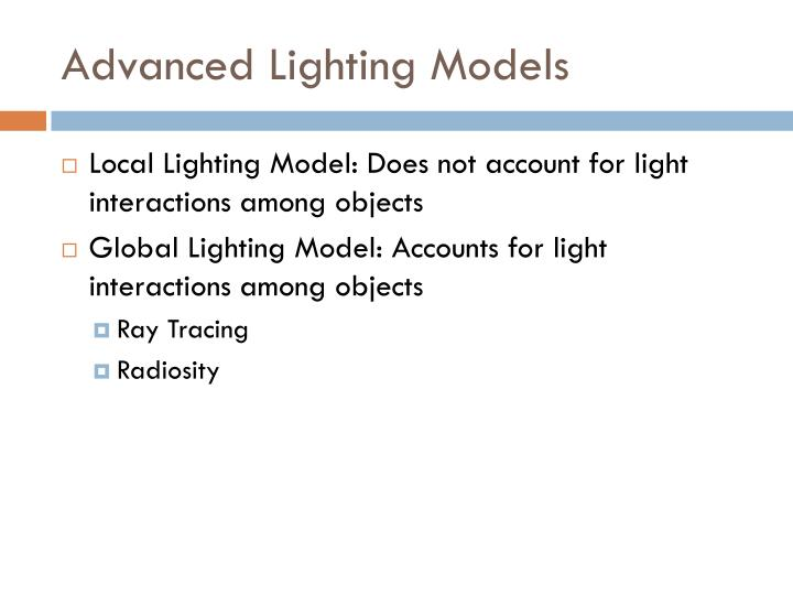 Advanced Lighting Models