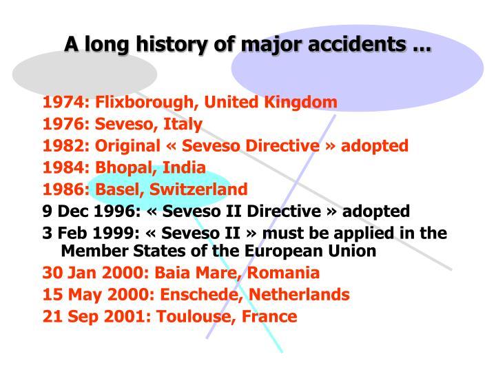 A long history of major accidents ...