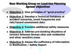new working group on land use planning agreed objectives