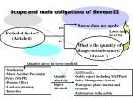 scope and main obligations of seveso ii