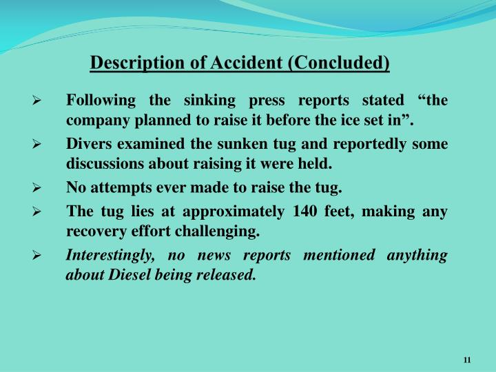 Description of Accident (Concluded)