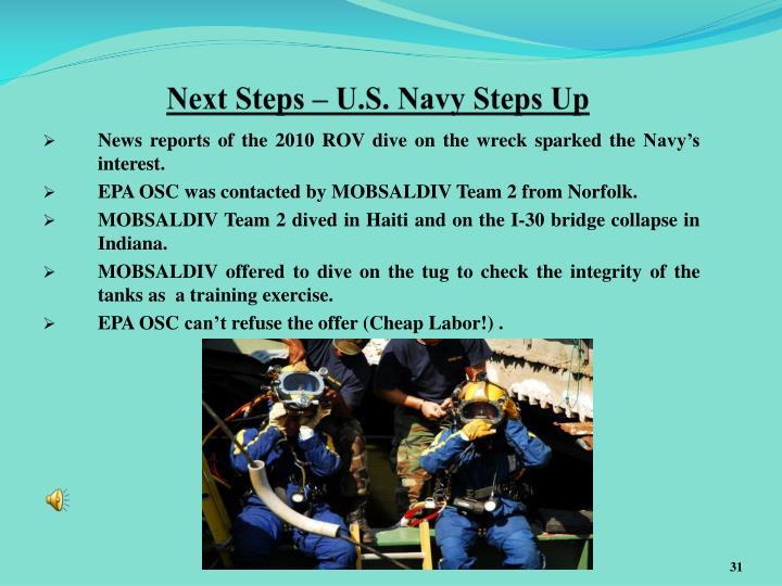 Next Steps – U.S. Navy Steps Up