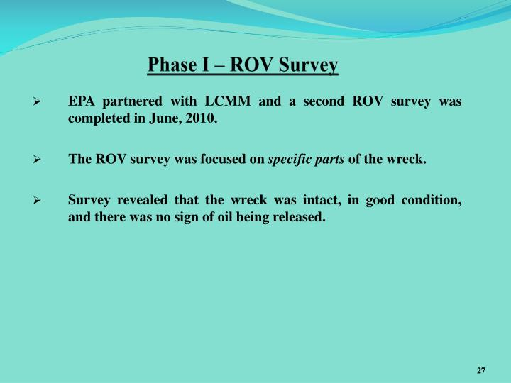 Phase I – ROV Survey