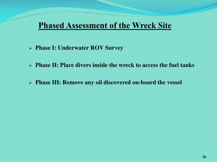 Phased Assessment of the Wreck Site