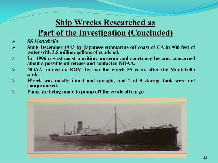 Ship Wrecks Researched as