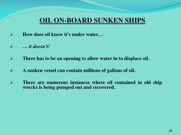 OIL ON-BOARD SUNKEN SHIPS