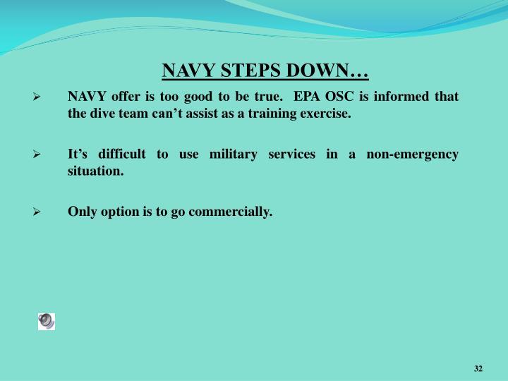 NAVY STEPS DOWN…