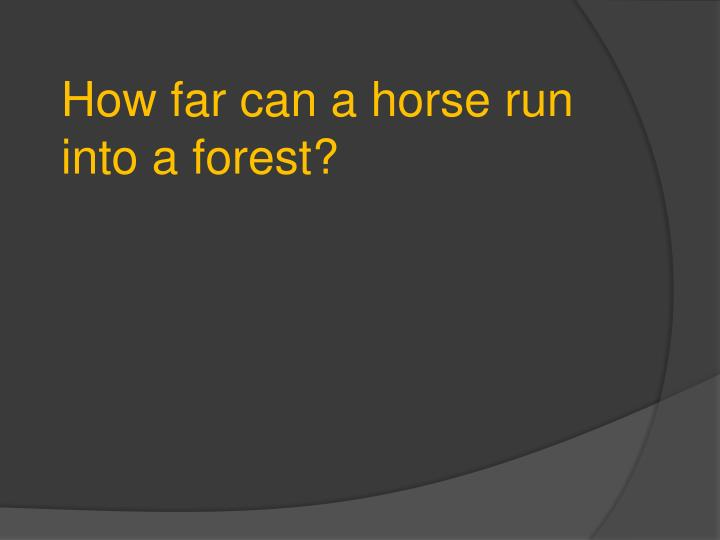 How far can a horse run into a forest?