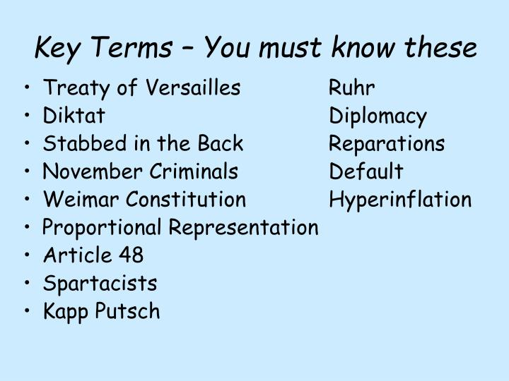 Key Terms – You must know these
