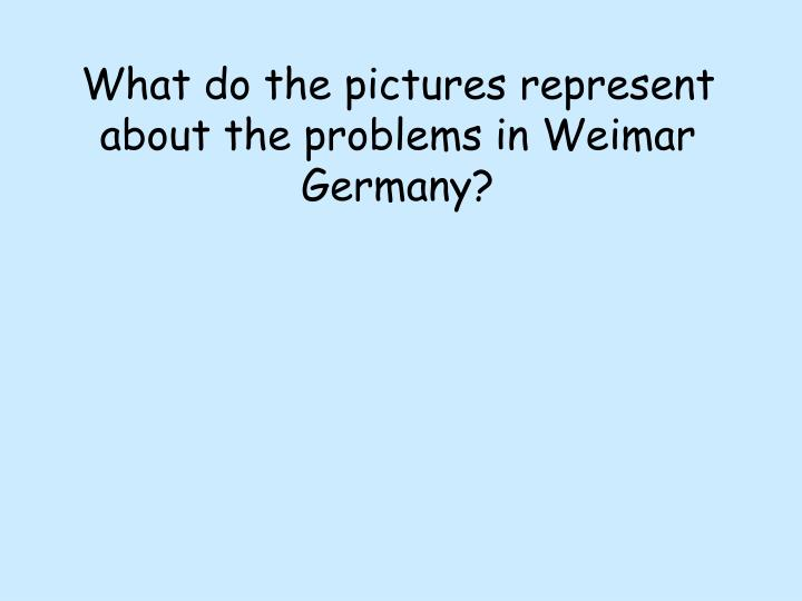 What do the pictures represent about the problems in Weimar Germany?
