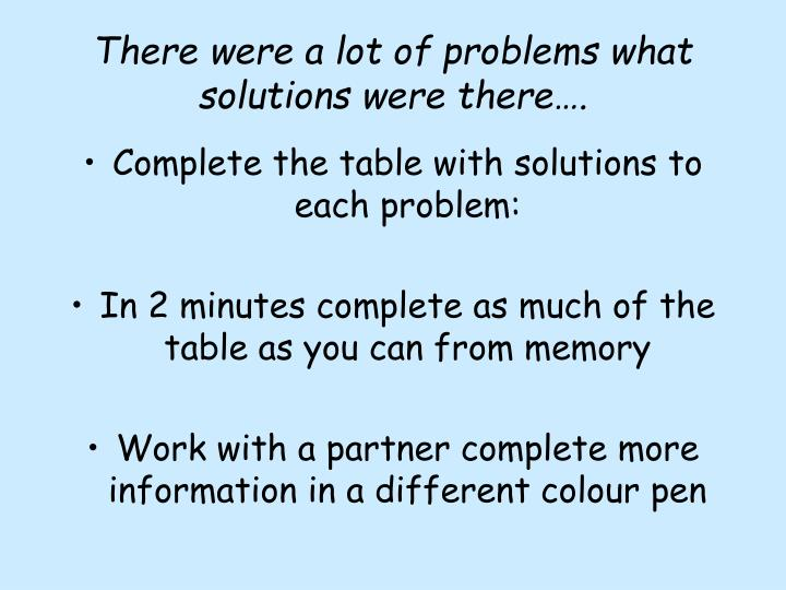 There were a lot of problems what solutions were there….