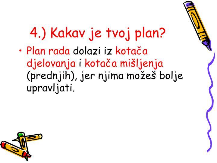 4.) Kakav je tvoj plan?