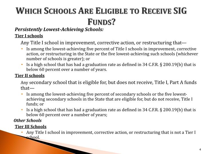 Which Schools Are Eligible to Receive SIG Funds?